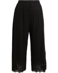 Pleats Please Issey Miyake - Lace Cut-out Cropped Trousers - Lyst