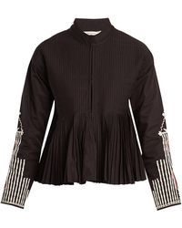 Mes Demoiselles - Artemis Stand-collar Embroidered Pleated Jacket - Lyst