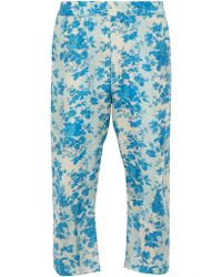 By Walid - Hiro Cropped Floral Print Silk Trousers - Lyst