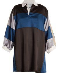 Koche - Contrast Panel Satin Dress - Lyst