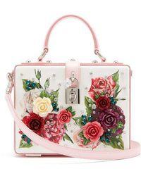 11bae8920971 Dolce   Gabbana - Embellished Floral-print Leather Box Bag - Lyst