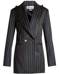 Loewe - Striped Double Breasted Wool Blend Blazer - Lyst
