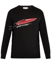 Maison Kitsuné - Crew-neck Speedboat-jacquard Wool Sweater - Lyst