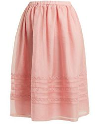 Jupe by Jackie - Griggs Embroidered Silk-organza Midi Skirt - Lyst