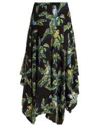 Stella McCartney - Asymmetric Parrot-print Silk Midi Skirt - Lyst