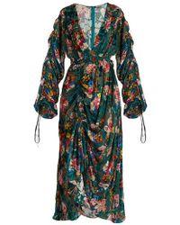 Preen By Thornton Bregazzi - - Opal Floral Print Velvet Devoré Midi Dress - Womens - Green Multi - Lyst
