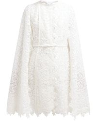 Giambattista Valli - Floral Cotton Blend Lace Cape Coat - Lyst