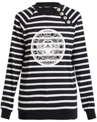 Balmain - Logo-print Striped Cotton-jersey Sweatshirt - Lyst