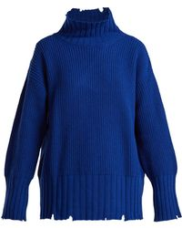 MSGM - Distressed Oversized Wool-blend Jumper - Lyst