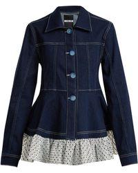 House of Holland | Polka-dot Ruffle-embellished Denim Jacket | Lyst