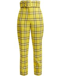 Sara Battaglia - Belted Checked Wool Trousers - Lyst