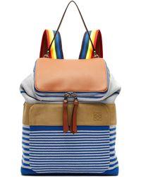 Loewe - Goya Striped Canvas Backpack - Lyst