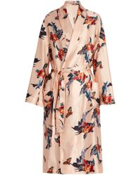 Katie Eary - Fish-print Silk-satin Dressing Gown - Lyst