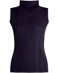 Pleats Please Issey Miyake | High-neck Sleeveless Pleated Top | Lyst