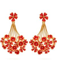 Oscar de la Renta - Geranium Floral Drop Earrings - Lyst