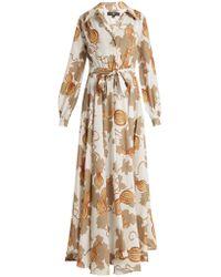 Edward Crutchley - Tie-waist Leaf-print Woven Dress - Lyst