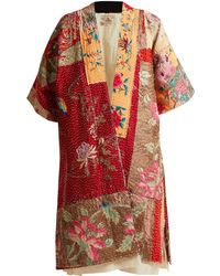 By Walid   Akiko-embroidered Panelled-silk Kimono   Lyst