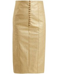 Hillier Bartley - Metallic Buttoned Faux-leather Pencil Skirt - Lyst