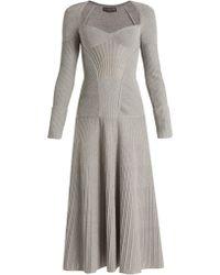 Alexander McQueen - Sweetheart Neck Long Sleeved Wool Blend Dress - Lyst