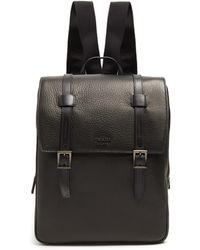 Prada - All Designer Products - Top-flap Grained-leather Backpack - Lyst