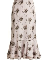 Brock Collection - Orchidea Floral Printed Taffeta Midi Skirt - Lyst