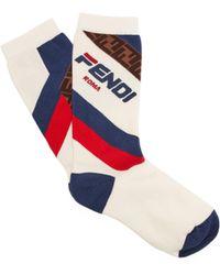Fendi - Mania Logo Jacquard Cotton Blend Socks - Lyst