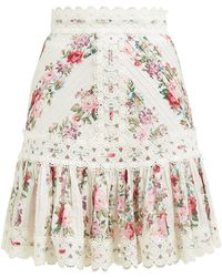 Zimmermann Honor Floral Print Pintuck Cotton Skirt - Multicolor