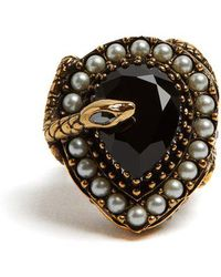 Alexander McQueen - Snake Stone And Pearl-embellished Ring - Lyst