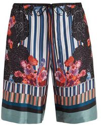 Meng - Floral-print And Striped Silk-satin Pyjama Shorts - Lyst