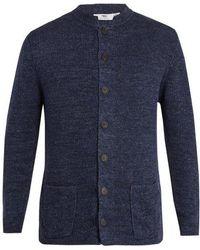 Inis Meáin - Nehru Ribbed-knit Linen Cardigan - Lyst