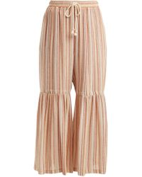 See By Chloé - Drawstring-waist Striped Wide-leg Trousers - Lyst