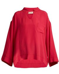 Marni - - Point Collar Washed Crepe Top - Womens - Pink - Lyst