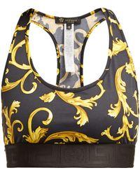 Versace - Baroque-print Racer-back Sports Bra - Lyst