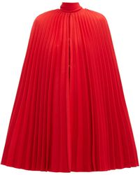 Valentino - Pleated Virgin Wool Cape - Lyst