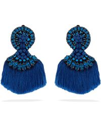 Etro - Crystal Embellished Fringed Clip On Earrings - Lyst
