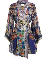 Camilla - Playing Koi Print Silk Kimono Wrap Dress - Lyst