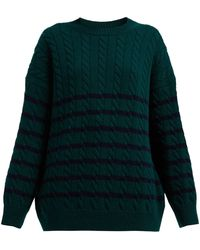 Loewe - Oversized Striped Cable Knit Wool Sweater - Lyst