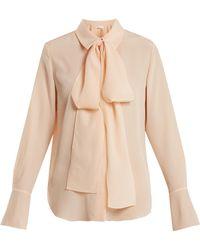 Chloé | Tie-neck Silk-crepe Shirt | Lyst
