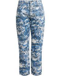 Off-White c/o Virgil Abloh - Crop Tapestry Denim Jeans In Blue - Lyst