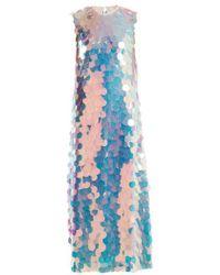 Sara Battaglia - Round-neck Sequin Maxi Dress - Lyst