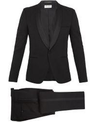 Saint Laurent | Shawl-collar Satin-trimmed Wool Tuxedo | Lyst