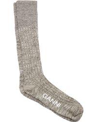 Ganni - Classon Ribbed Mélange Cotton Blend Socks - Lyst