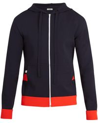 Valentino - Hooded Stripe-appliqué Jersey Zip-up Sweatshirt - Lyst