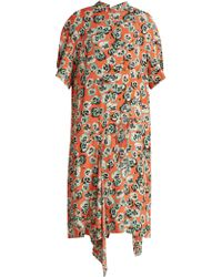 Marni - Poetry Flower Print Draped Hem Crepe Dress - Lyst