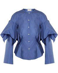 Sara Battaglia - Collarless Ruffled Cotton Shirt - Lyst