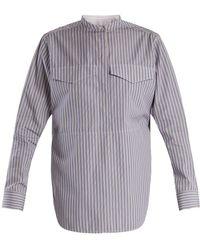 CALVIN KLEIN 205W39NYC - Striped Stand-collar Cotton Shirt - Lyst