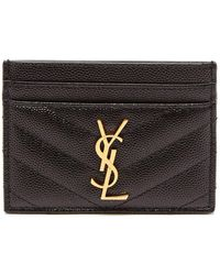 Saint Laurent - Monogram Quilted Leather Cardholder - Lyst