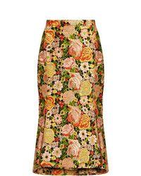 Balenciaga - Kick Hem Embroidered Silk Skirt - Lyst