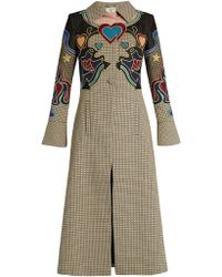 Mary Katrantzou - Oliver Cowboy-Embroidered Houndstooth Coat - Lyst
