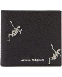 Alexander McQueen - Dancing Skeleton Print Bi Fold Leather Wallet - Lyst